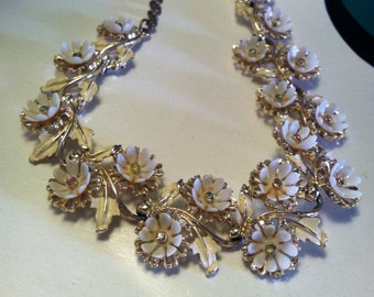 Vintage choker ART signed mixed plastic and metal floral necklace Epsteam -- 0256