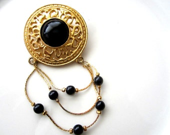 SALE *Vintage Gold Tone Large Filigree Medallion Brooch with A Black Stone/Bead and Cascading Gold Tone Chain