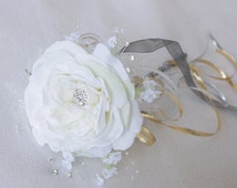 Rhinestone and Pearl Rose Peony Brooch Wedding Jewel Flower Girl Wand
