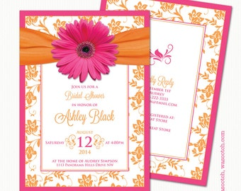 Gerbera Daisy Pink Orange Floral Damask Ribbon Bridal Shower Invitations Printed