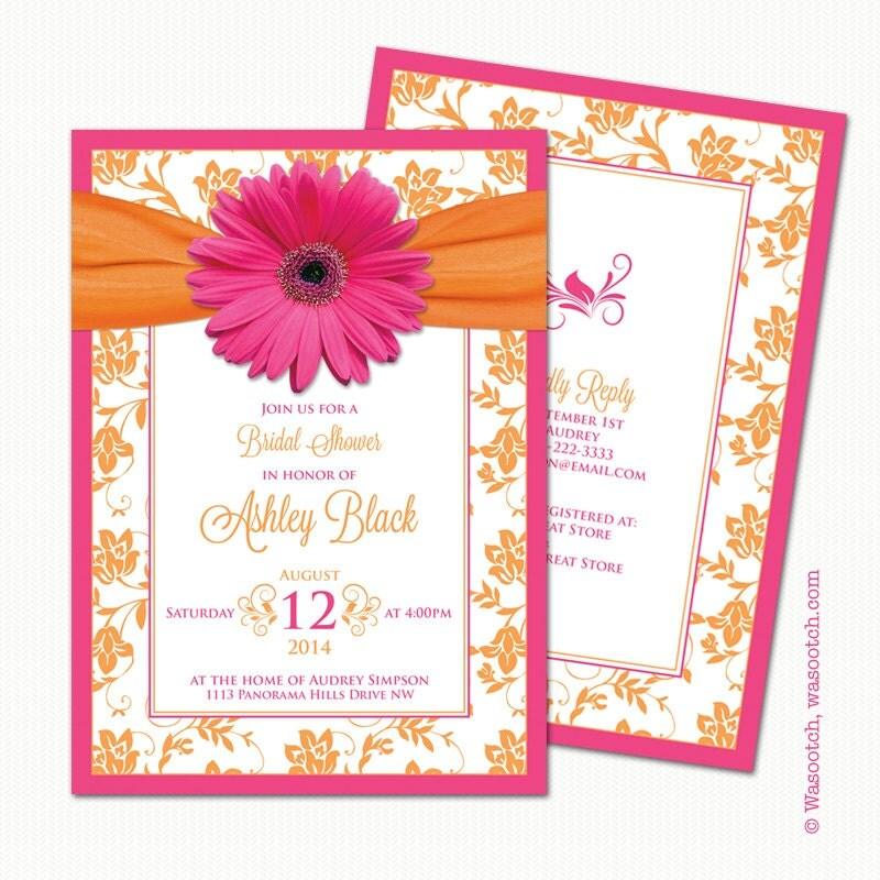 Hot Pink Gerbera Daisy White Wedding Invitation 5 X 7: Gerbera Daisy Pink Orange Floral Damask Ribbon Bridal Shower