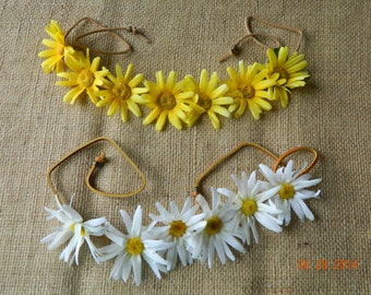 Daisy Flower Headband with leather tie