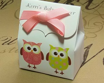 Owl baby Shower Favor Bags, 10 Personalized Favor Bags, baby Shower Favors