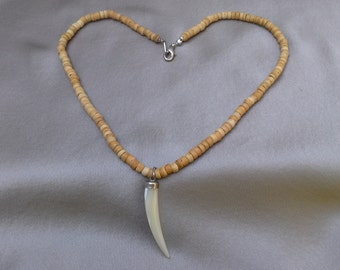 Carved Shell Horn on Necklace of Neutral Wood Beads: Vintage Necklace