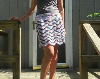Handknit lined women's skirt