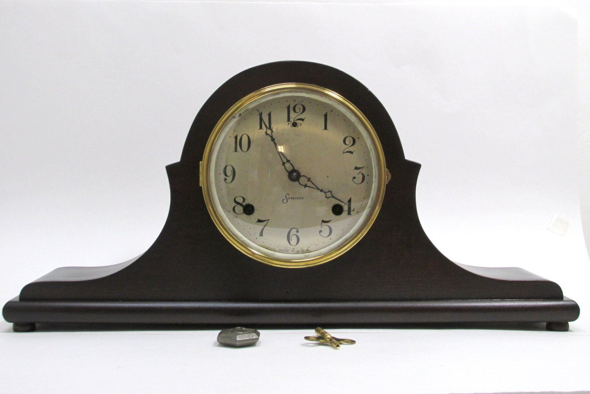 Mantle Clock In A Wood Case Sessions Eight Day Key Wound