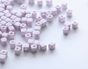 200 pcs of Light Lavender Cube Acrylic Beads - 3 mm