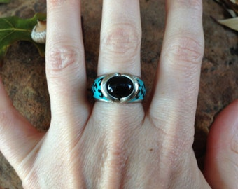 Sterling Silver Ring With Black Stone Size 8