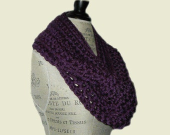 Purple Scarf Infinity Scarf Cowl Crochet Scarf Dark Purple Infiniti Loop Women Scarves HandMade in USA