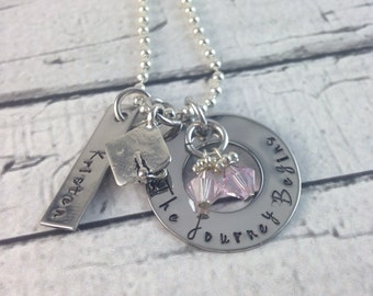 Hand stamped, The Journey Begins graduation personalized necklace
