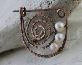 Shawl pin, scarf pin, copper brooch, simple copper spiral and pearls pin