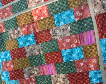 Unfinished Quilt Top Ready to Quilt Throw Lap Southwestern Rust Teal Mustard