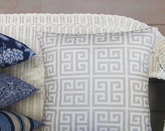 Taupe Tan White Throw Pillow Cover Geometric Greek Key Home Decor Decorative 16x16 18x18 20x20 22x22 12x16 12x18 12x20 14x22 Lumbar Zipper