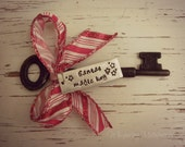 Santa's magic key - hand stamped - skeleton key - red and white wired ribbon - stars - ornament - silver - clearance - ready to ship