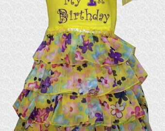Yellow Floral Tiered First Birthday Embroidered  Dress - 18 Months - D216