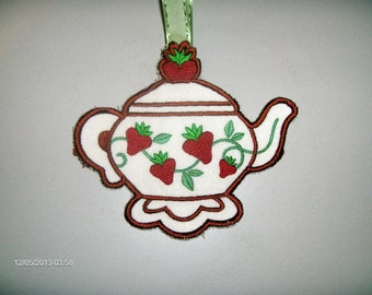Strawberry Tea Pot hanging Towel Topper with optional towel
