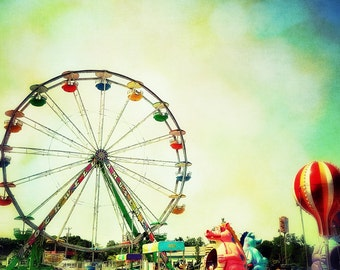 Ferris Wheel Fine Art Photograph, Nursery Art Blue Sky, Vintage, Carnival Multicolor turquoise red yellow