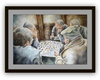 Original Watecolor painting Turkish coffee house - original art - playing chess - figurative painting,watercolor art,people in art