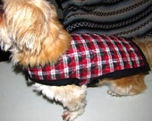 SALE - Medium Quilted Reversible Plaid Dog Jacket