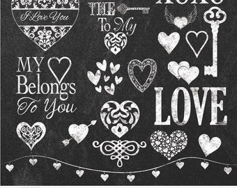 "Chalk Hearts Cliparts ""CHALK HEARTS"" 20 chalk board clip arts, 12x12 chalkboards, chalk hearts, chalk, Love, chalk keys, chalk word art"