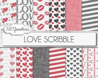 "Love Digital Papers ""LOVE SCRIBBLE"" hand drawn backgrounds, kisses, red hearts, black hearts, linen texture for photographers,scrapbooking"