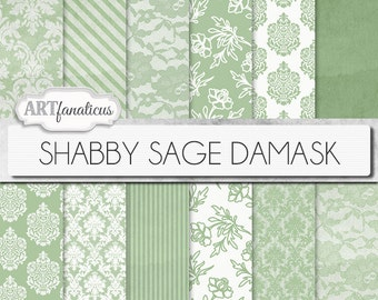 "Shabby Green Damask digital papers ""SHABBY SAGE DAMASK"" elegant, rustic, green, lace, damask for weddings, baby shower, scrapbooking,invites"