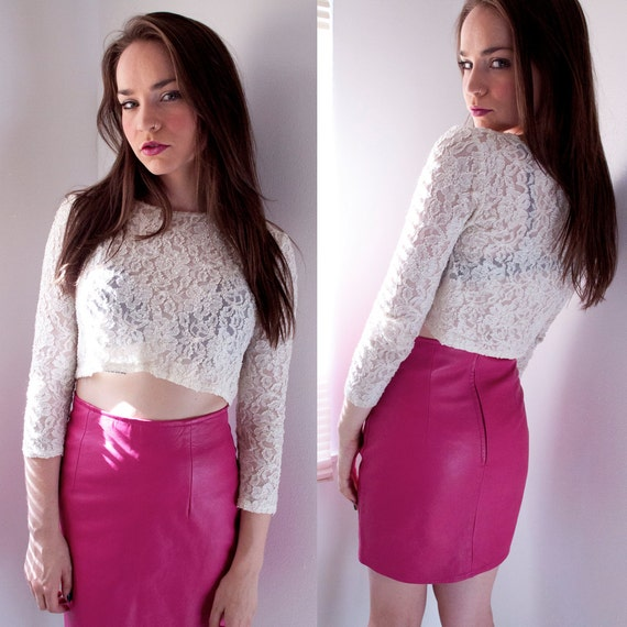 Hot Pink Leather Mini Skirt