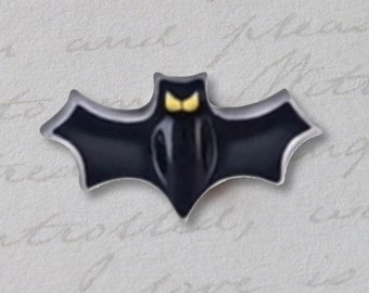 Black Bat Halloween Fall Floating Locket Charm for Glass Floating Memory Locket Necklaces