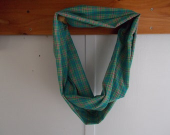 "Infinity Scarf, cotton teal plaid.  Approx 5"" x 72"".  Great light weight scarf to add color  to your outfit."