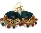 Green Earrings-Silk and Natural Stone Earrings-Gold Plated Earrings-Colorful Earrings-Valentine's Day-Green Dangle Earrings