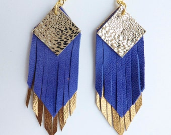 Fringed geometric tassel eco leather earrings, in cobalt blue, gold and metallic layers