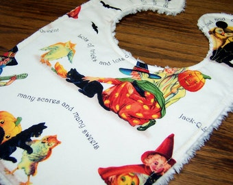 Retro Halloween Bib: trick or treat chenille bib with witches and black cats, pumpkins and owl baby bib