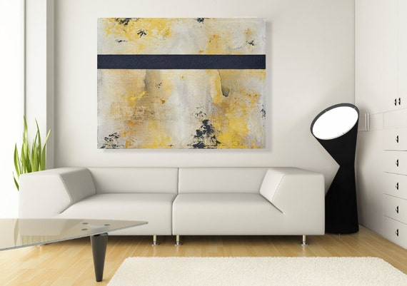 Large Navy Blue And Yellow Modern Abstract Wall Art Painting