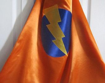 Lightning  bolt superhero cape; super hero cape with lightning bolt, no initial