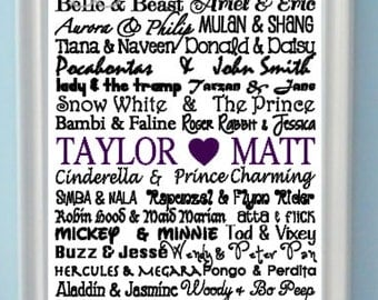 Personalized Famous Disney Couples Wedding Subway Art Print- 8x10 Print Typography