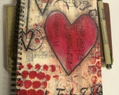 Romance Red Heart - Spiral bound Notebook - unlined pages, doodle journal, diary, journal