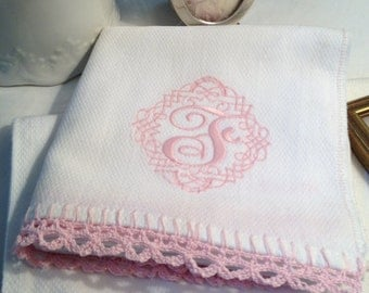 Burp cloth large cloth diaper crochet edge monogrammed