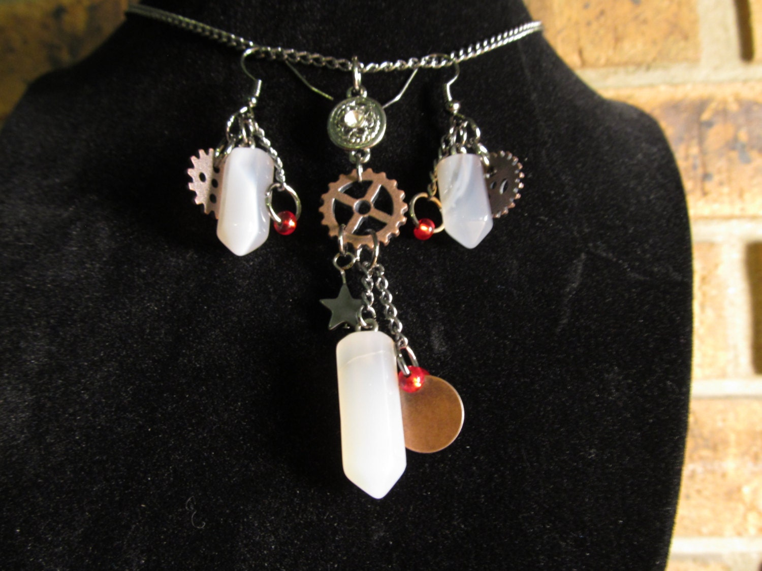 Steampunk White Quartz and Gear Necklace and Earring set. steampunk buy now online