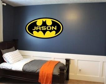 Batman Custom Vinyl Wall Art Decor Personalized Name (# BMTN2)