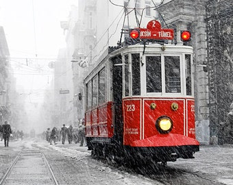 Wall decor -   Winter Photography, Tram photography, winter, istanbul photo, red tram, Art Print, 10x15, christmas