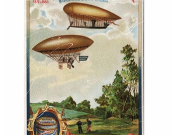 Vintage Adverting Card - Hot Air Balloon 1786 - Awesome Collectors Item