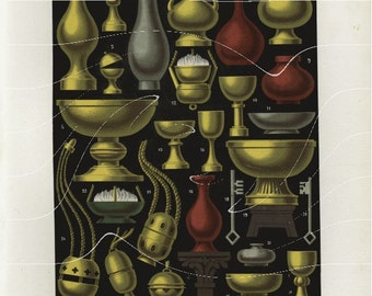 Original Antique  Print - Various French Objects  Vases pots