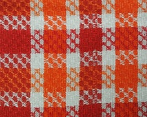 Very well done vintage 1970s larger thicker handmade handwoven red/ orange/ white cotton/ linen table-cloth with gees-eye pattern