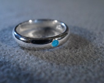 Vintage Sterling Silver Round London Blue Topaz Domed Eternity Wedding Band Ring, Size 7