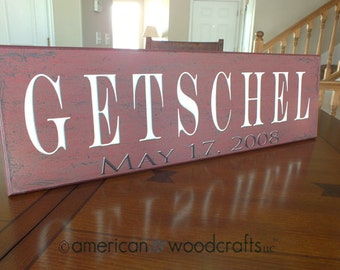 Personalized Family Name Sign Plaque Established Family Sign 7x24 Wall Sign wedding or anniversary gift