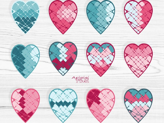 Valentine hearts clip art set, mosaic patterned hearts, pink, turquoise, Valentine clipart, small business use