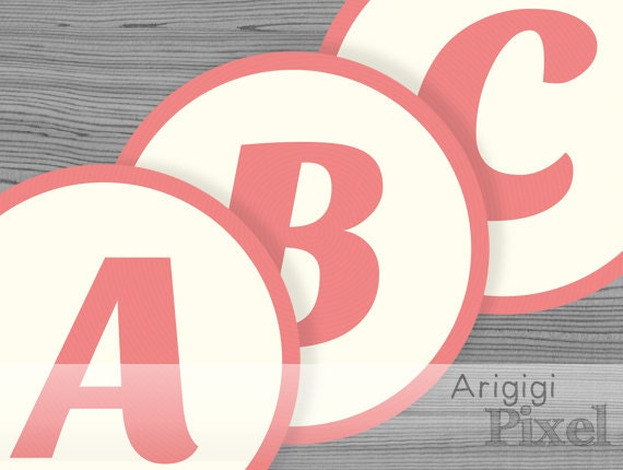 large alphabet circles for banner - number circles - peach pink - printable PDF banner letters 6 in - entire alphabet download