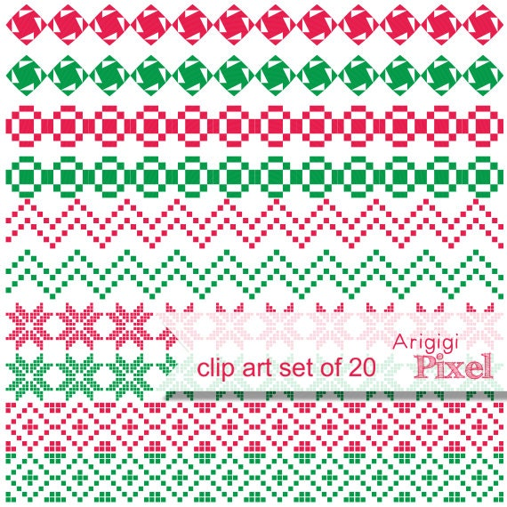 ugly sweater ornaments - Christmas clipart set of 20 - digital ribbons download