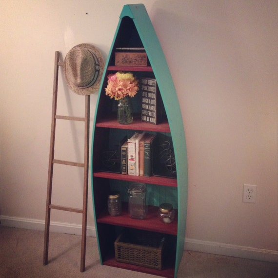 Rustic Nautical Bathroom Decor: Rustic Rowboat Bookshelf In Turquoise And Red Distressed