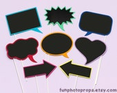 SALE - Photo Booth Prop Set - 8 Piece Chalkboard Speech Bubble Photobooth Prop Set - 8CB